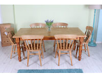 6 FT SOLID PINE FARMHOUSE TABLE 6 CHAIRS RUSTIC LOOKING WOULD LOOK GREAT PAITED - CAN COURIER