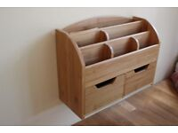 Wooden wall fitted stationary holder