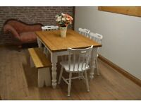 rustic pine farmhouse kitchen dining table and chairs and bench shabby chic laura ashley