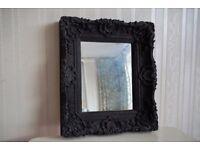 Small Decorative Black Baroque Style Mirror