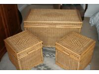 SET OF THREE MATCHING WICKER CHESTS