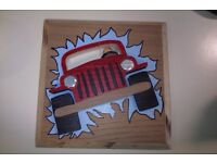 unique hand made wooden scroll saw art - 3D Jeep ripping through the wall