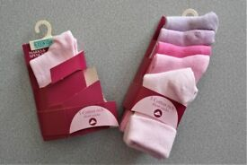 NEW six pairs of girls socks age 6 -12 month