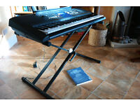 Yamaha PSR E333 portable keyboard plus Tiger Keyboard Stand and instruction manual - as new.