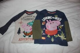 2 x Peppa Pig kids long sleeved tops. George/Peppa. Great condition. Twin pack.
