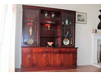 Large wood and glass panelled display cabinet with interior lights