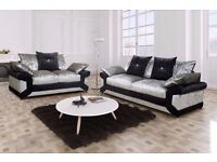 ❤Superb Quality❤Best Price❤New Double Padded Dino Diamond Crushed Velvet Corner Sofa Or 3 And 2 Sofa