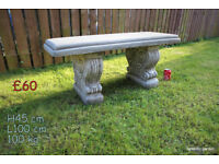 Stone bench garden ornament