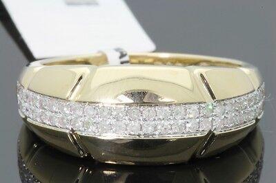 10K YELLOW GOLD .49 CARAT MENS REAL DIAMOND ENGAGEMENT WEDDING PINKY RING BAND