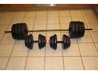 115kg vinyl weights set - barbell and pair of dumbbells / dumbells, perfect home gym weight set