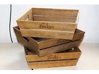 """(3) Three wooden Mrs Bridges trays (size approx.: 14""""x14""""x4 ½"""" )"""
