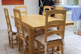 Wooden dining table, with 6 chairs, good condition, open to offers.