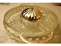 Beautiful CRYSTAL bowl with a lid, can be used for dips, salads, etc. - CHARITY SALE