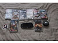 PSP + 9 games, disk holder and charger