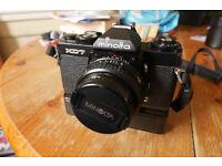 Minolta XD7 (aka XD11) black edition SLR camera with Rokkor 45mm f2 lens, Excellent++ incl winder