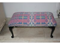 Wooden stool with a Welsh tapestry upholstery.