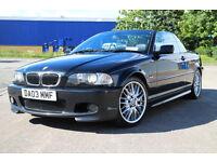 BMW 330 M SPORT CONVERTIBLE BLACK E46 FSH 1 YRS MOT RARE MANUAL MV1 ALLOYS HEATED LEATHER £3395ovno
