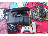 MICROSOFT XBOX 360 ELITE 120GB WITH 2 CONTROLLERS, XBOX KINECT, HEADSET AND 15 GAMES