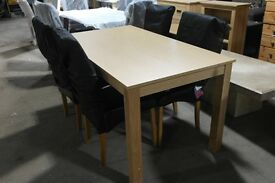 BRAND NEW OAK STYLE DINING TABLE AND 4 NEW SKIRTED CHAIRS!!!!!!!!!