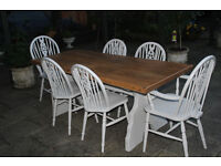 BEAUTIFUL VERY OLD SHABBY CHIC 185 CM OAK FARMHOUSE TABLE AND SIX CHAIRS