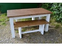 New solid, medium size table with 2 benches