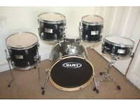 Mapex V Black 5 Piece Full Drum Kit (18in Bass) with all Stands and Cymbal Set and Stool
