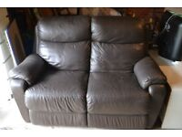 Leather, reclining 2-person sofa - Free, buyer collects