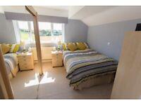 6 ft Light Oak/Beech double wardrobe, sliding mirrored doors