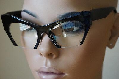 """Cat Eye Clear Lens Glasses Retro Vintage 60s Womens """"Razor"""" Black Frame"""
