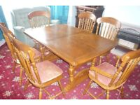 walnut dining table with 6 chairs
