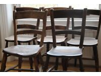 5 turned wooden antique dining chairs