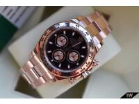 Rolex Daytona Rose Gold Black Coral Dial- Chronograph SW7750