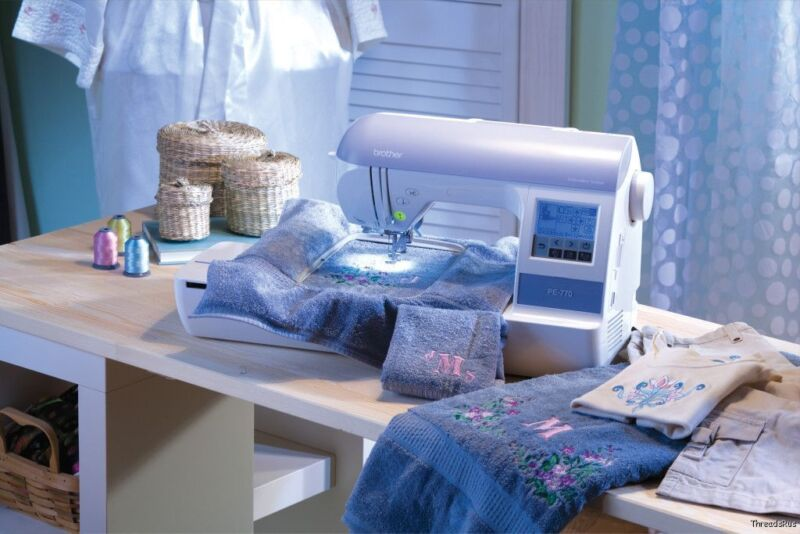 NEW BROTHER PE770 EMBROIDERY MACHINE + EMBROIDERY THREADS + BACKING