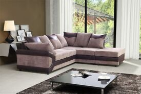 New Top Quality Italian Jumbo Cord Dino Corner Sofa a Footstool or 2 + 3 Seater Grey / Brown
