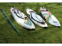 Mistral Windsurfing Boards (Three) + Booms (2) & Masts (2)