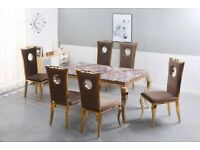 🟡⚫ MARBLE DINING TABLE WITH 6 CHAIRS SET , GOLD AND SILVER CHAIRS FULL SET ONLY 965£