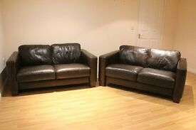 2 x Beautiful Immaculate Sofitalia Real Dark Brown Leather 2 Seater Sofas used for three months only