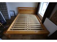 King size bed solid pine