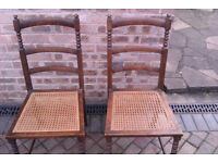 Pair of Vintage High Back Wooden chairs with Woven Rattan Wicker Seats
