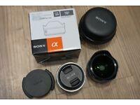Sony SEL16F28 Prime Lens and Fish Eye Converter VCLECF1 Lens