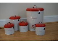 Next red kitchen storage tin containers