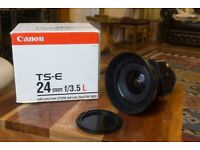 Canon 24mm TS-E f3.5 L Series Tilt and Shift Camera Lens with Hood Case and Box