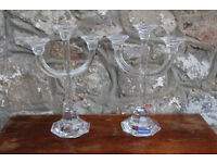 Pair Large Stylish Crystal Candelabras Villeroy & Boch Candle Holder Candle Stick Christmas