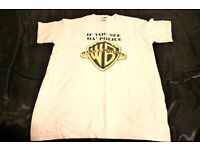 "White ""IF you see the police, Warnabrother"" T-Shirt Shirt. Size S. Mens or Boys L"