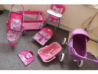 GRACO Girls Doll Crib , Car Seat , Two Strollers , High Chair ,Changing mat , Bouncing Chair Set