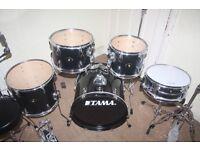 Tama Stagestar Black 5 Piece Drum Kit (18 in bass drum) - DRUMS ONLY