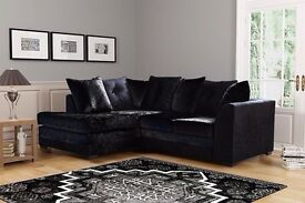 ALL BLACK CRUSHED VELVET FABRIC /// BRAND NEW DYLAN CORNER AND 3+2 SEATER SOFA SUITE