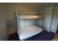 FREE TO COLLECT Silver metal futon bunk with one single mattress; charitable donations welcome