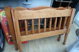 Antique Wood Single Bed Frame with mattress