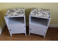Pair of vintage shabby chic grey floral bedside cabinets / bedside tables. £75 for the pair.